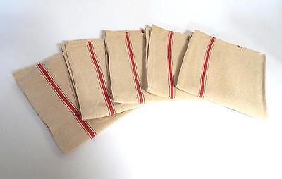 5 Vintage French Kitchen Towels or Torchons with Red Stripes on Linen