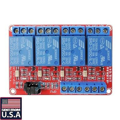 New 4-Channel 12V Relay Module with Optocoupler H/L Level Triger for Arduino USA