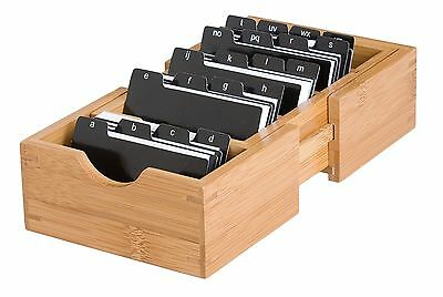Business Card Organizer Storage Holder Box Case Credit ID Wallet Pocket Name Tab