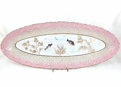 STUNNING GILT HAND PAINTED FISH PLATTER D&Co DELINIERES LIMOGES CHINA GOLD PINK