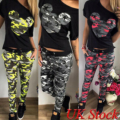 Womens Tracksuit Top Camouflage Loungewear Set Joggers Jogging Pants Casual Wear