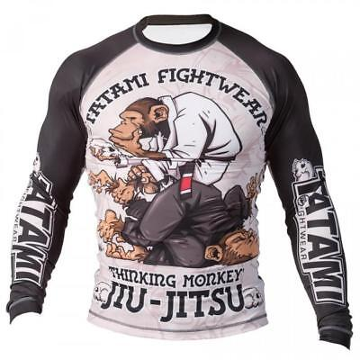 Tatami Thinker Monkey Mens BJJ Rash Guard Long Sleeve Jiu Jitsu Compression MMA