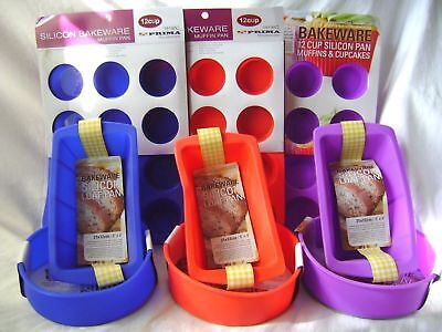 New Silicone 3 Cake Baking Mould Set Muffin Round Loaf Non Stick Blue Red Purple