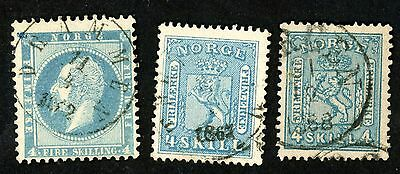 1856-68 Norway Stamps #4, 8, 14 (3)  All:  Used, HR ...4s blue stamps