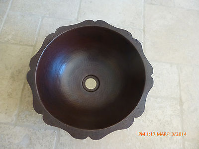 "Round sink dark Copper 15"" round, Custom Designed drop-in,top mount"