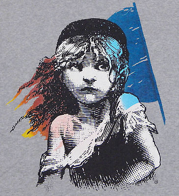Vtg 1986 LES MISERABLES T Shirt MEDIUM Gray Broadway Play Theatre Musical Thin