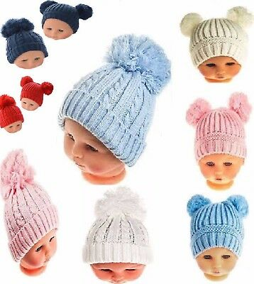 Baby Boys Girls Cable Bobble Pom Pom Hat Pink White Blue 0-12 12-24M