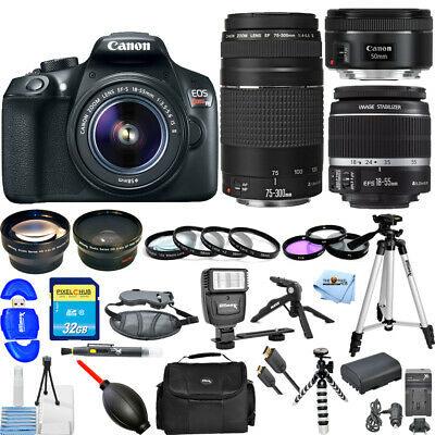 Canon EOS Rebel T6 DSLR Camera W/ 18-55mm + 75-300mm + 50mm STM Lens! 3 LENS KIT