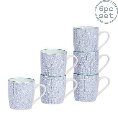 Patterned Porcelain Tea Coffee Mug, Restaurant Cups - Blue - 280ml - x6