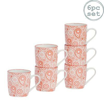 Patterned Porcelain Tea Coffee Mug, Restaurant Cups - Coral / Orange - 280ml x6