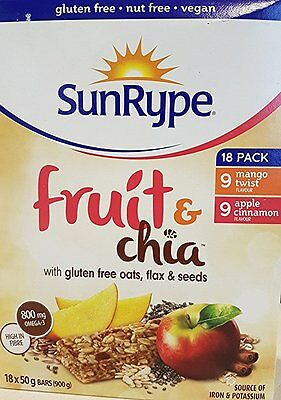 SunRype Fruit & Chia With Gluten Free Oats & Flax Seeds 18x50g/1.7oz.{Canadian}