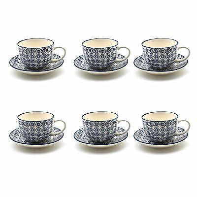 Cappucino Coffee Tea Latte Porcelain Cups & Saucers - Blue Flower 250ml Set x6