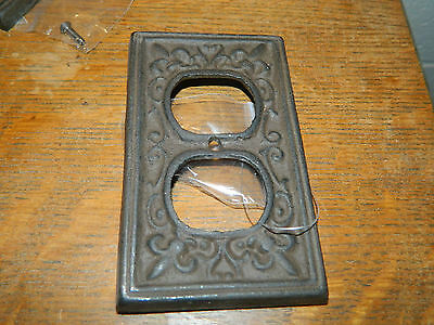 Fluer De Lis French Sytle Cast Iron Wall Electric Plug Double Outlet Cover Plate