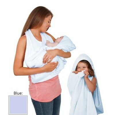 ClevaMama Baby Apron Towel Hooded Cotton Soft Hands Free - Blue