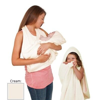 ClevaMama Baby Apron Towel Hooded Cotton Soft Hands Free - Cream