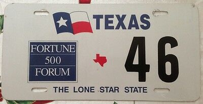 Very rare Texas Fortune 500 Special Event license Plate Low Number # 46