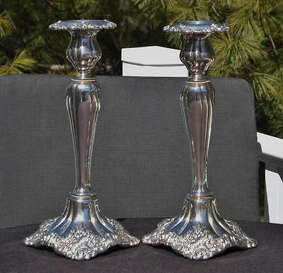 """Pair Wallace Baroque Silverplated #266 Candlesticks 10.25"""" 3450 Grams"""