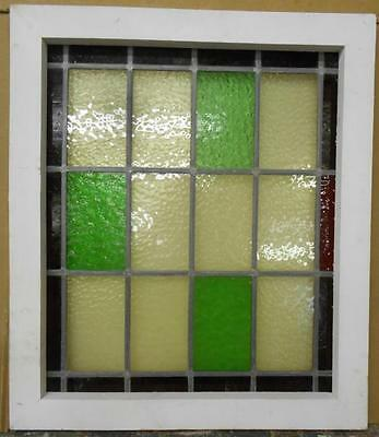 "MID SIZED OLD ENGLISH LEADED STAINED GLASS WINDOW Color Squares 20.25"" x 23.5"""