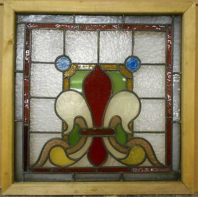 "VICTORIAN ENGLISH LEADED STAINED GLASS WINDOW Fleur-de-lis Design 20.5"" x 20.5"""