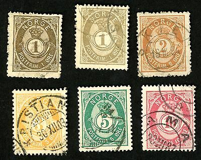 1882-93 Norway Stamps #35-40 (6 stamps) All:  Used, HR
