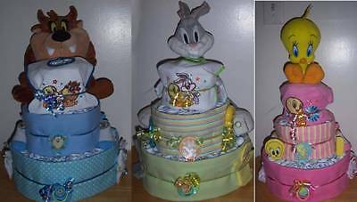 Baby Shower 3 Tier Looney Tunes Diaper Cake, Taz, Tweety, or Bugs Bunny