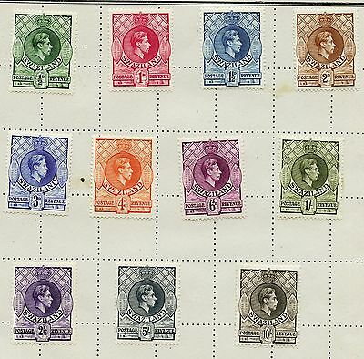 Weeda Swaziland 27-37 VF mint H 1938 KGVI set to 10sh  CV $53.05
