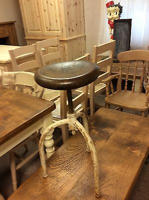 antique hungarian Adjustable Stool European Collectible Oak Seat