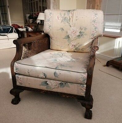 Antique Armchair Caned Bergere Club Chair C1910