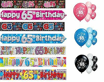 65th BIRTHDAY BANNERS PINK BLUE BLACK MULTI PARTY DECORATIONS