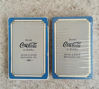 1930s SEALED Coca-Cola Playing Cards Blue/Gray Pinochle Hund & Eger Bottler!!