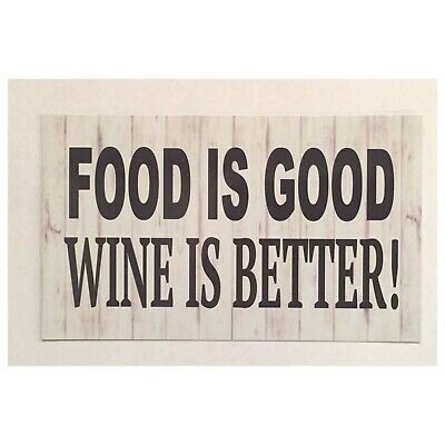 Food Is Good Wine Rustic Shabby Vintage Wall Plaque House Kitchen