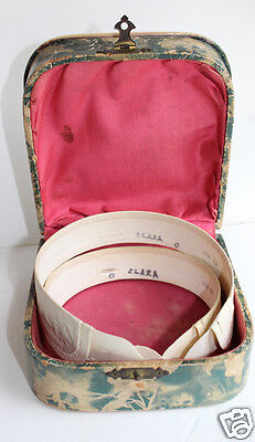 Antique Celluloid Collar Box with 2 Embroidered Collars Ladies Original