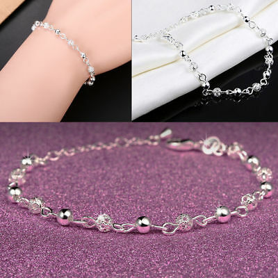 New Women 925 Sterling Silver Crystal Chain Bangle Cuff Charm Bracelet