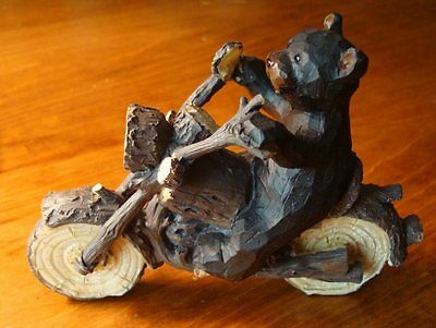 BLACK BEAR BIKER Motorcycle Rider Figurine Faux Wood Carved Statue Decor NEW