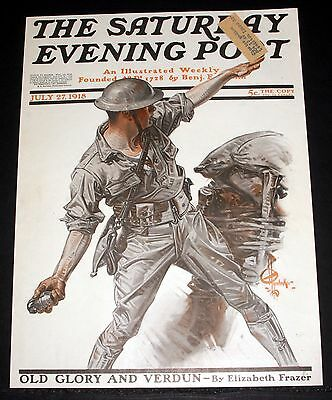 1918 Saturday Evening Post Magazine Cover (Only) Leyendecker Wwi Soldier Art!