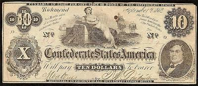 1862 $10 Month Error Confederate States Enigmatical Issue Civil War Note T-46