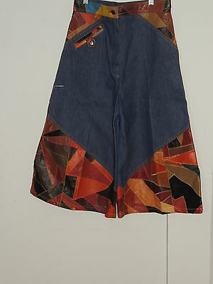 1970's Denim Cculottes with Patch Leather Trim by Swan w- 29 1/2 MED