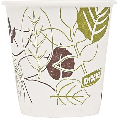 Wax Treated Cold Paper Cups Disposable Flower Design Soak Resistant 3 Oz 2400 Ct
