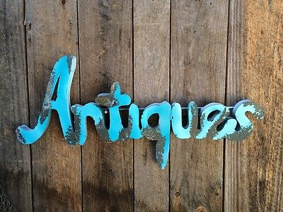 "Metal Sign ""Antiques"" Retro Turquoise  & Rusty Patina- Wall Art- Junk Shop"
