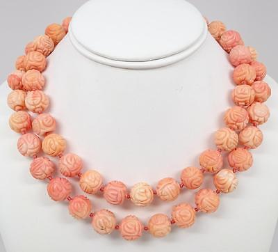 """Antique Chinese 14K Carved Pink Coral Shou 14mm Bead 37"""" Necklace 207.4g"""