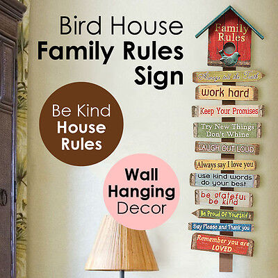 Bird House Family Rules Sign Inspirational MDF Wood Hanging Wall Art Home Decor