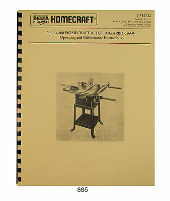 "Delta Homecraft 8"" Tilting Arbor Saw 34-500 Operator & Parts Manual #885"