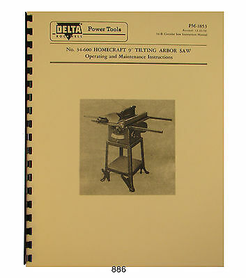 "ROCKWELL-Delta 9/"" x 16/"" Horizontal Band Saw Instructions /& Parts Manual 0630"