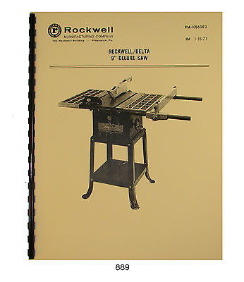 "Rockwell Delta 9"" Deluxe Table Saw Operator & Parts Manual #889"