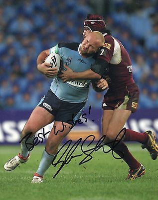 """Glenn Stewart Hand Signed NSW State of Origin/Leigh 10"""" x 8"""" Rugby League Photo."""