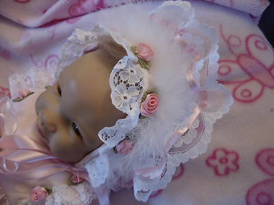 "Dream 0-3 Months  Baby Dolls Pink Roses  Frilly Bonnet Or  20-24"" Reborn Dolls"