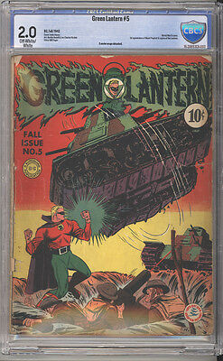 Green Lantern # 5  Classic WW II Tank cover  !  CBCS 2.0 rare Golden Age book !
