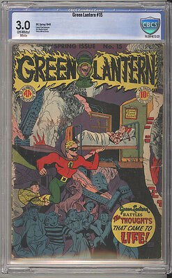 Green Lantern # 15  Thoughts that Came to Life ! CBCS 3.0 rare Golden Age book !