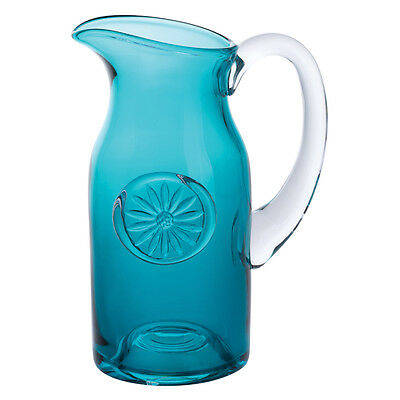 Dartington Crystal Slim Daisy Flower Jug in Teal