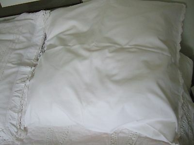 Large Vintage French Style White Pillow Cushion Case With Pink Scalloped Edge